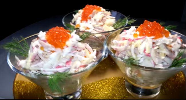 Салат из кальмаров с другими морепродуктами