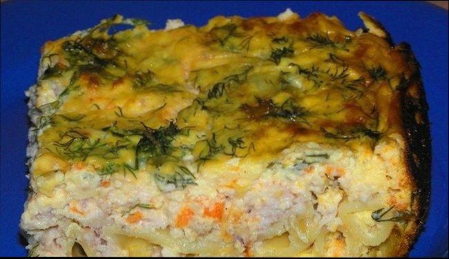 Картофельная запеканка с курицей, овощами и плавленым сырком
