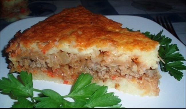 Диетическая запеканка с картошкой и отварным мясом