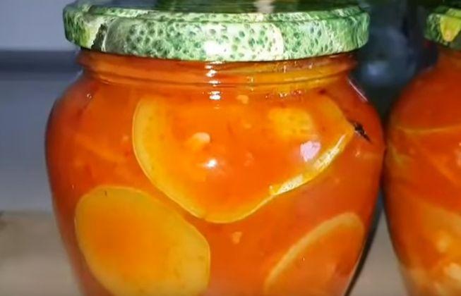 Очень вкусные маринованные кабачки в томатном соусе