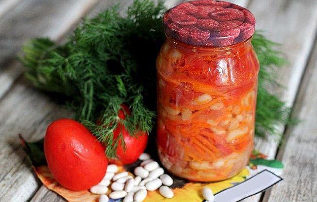 салат с фасолью на зиму с помидорами и болгарским перцем