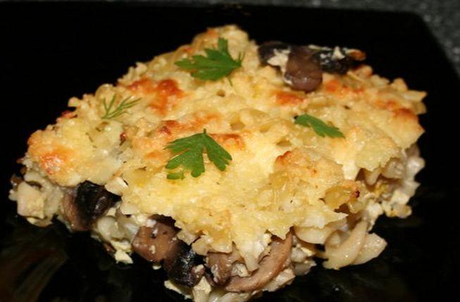 Картофельная запеканка с грибами - рецепт в мультиварке