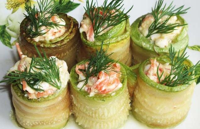 Рулетики из кабачков с начинкой — 6 пошаговых рецептов вкусной закуски