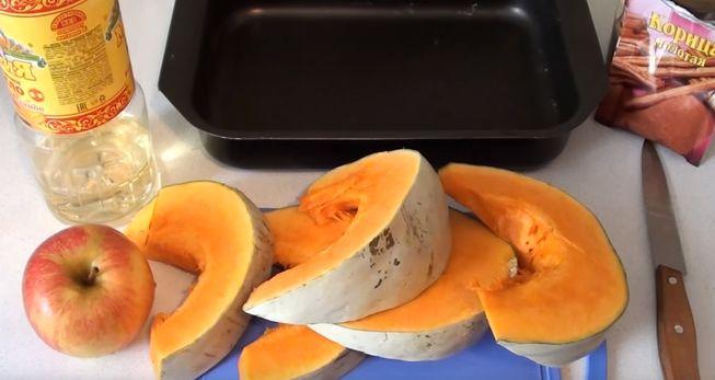 быстрый завтрак - тыква с яблоками