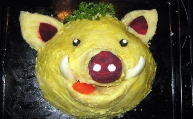 салат в виде свиньи