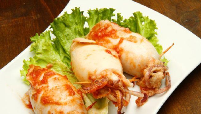 кальмары фаршированные рисом с креветками