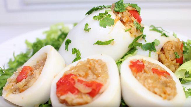 Кальмары фаршированные простые рецепты приготовления в духовке