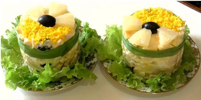 Дамский салат с добавлением ананасов