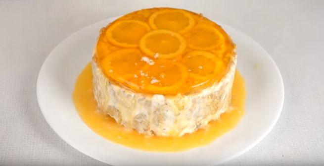 Простой торт без выпечки с цитрусовым вкусом